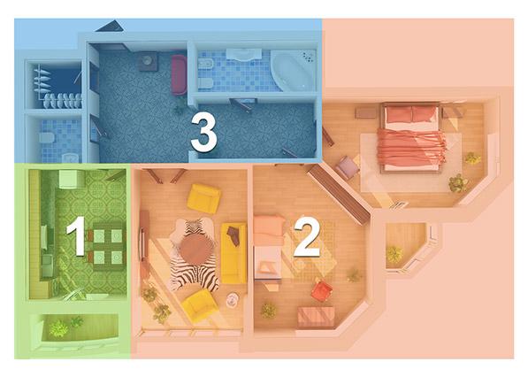уборка по зонам квартиры